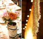 bark vases flowers string lights