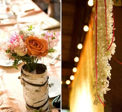 bark vases flowers string lights