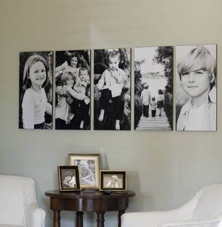 Enlarged family portraits design indulgences for Canvas print arrangement ideas