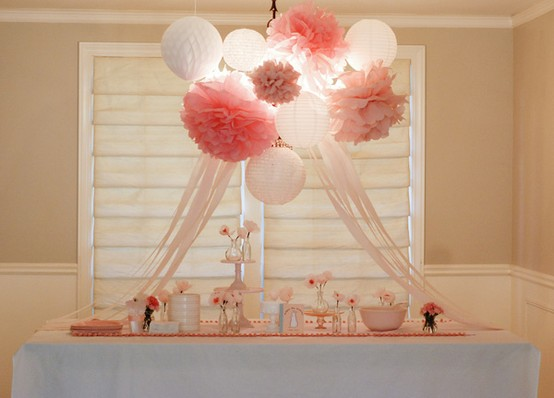 Tissue pom poms design indulgences for Hanging pom poms from ceiling