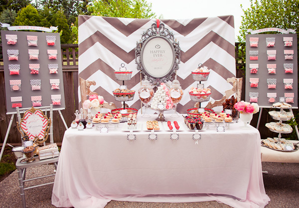 chevron, wedding shower, bridal shower, engagement party, day after wedding brunch breakfast buffet