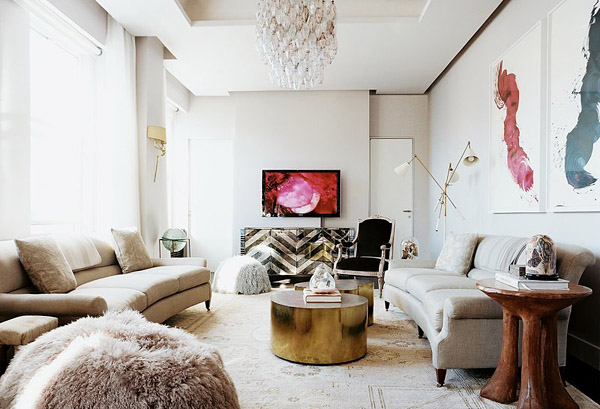 Kim kardashian design indulgences for Glam modern living room
