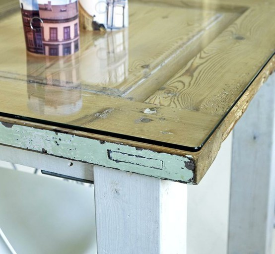 Tuesday s tips use glass to make anything a coffee table - Make a table from an old door ...