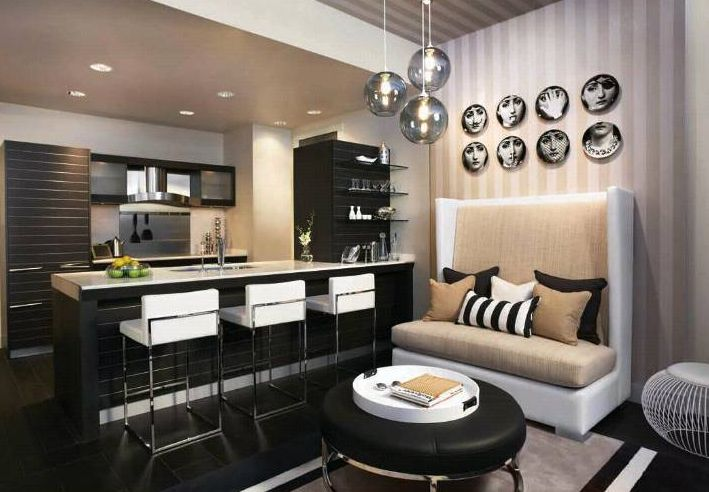 Modern beach styled living from miami house home for Black white taupe bedroom