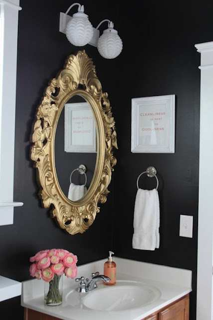 Change your bathroom medicine cabinet into a decorative for Black and gold bathroom ideas