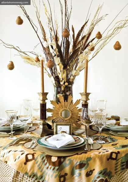 Turkey day tabletop decor using free branches…from your