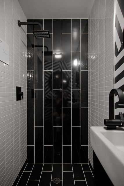 black subway tile bathroom interior