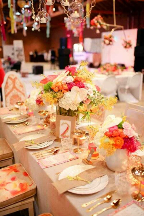 A Lovely Gold Tan Amp Coral Tablescape Design Indulgences