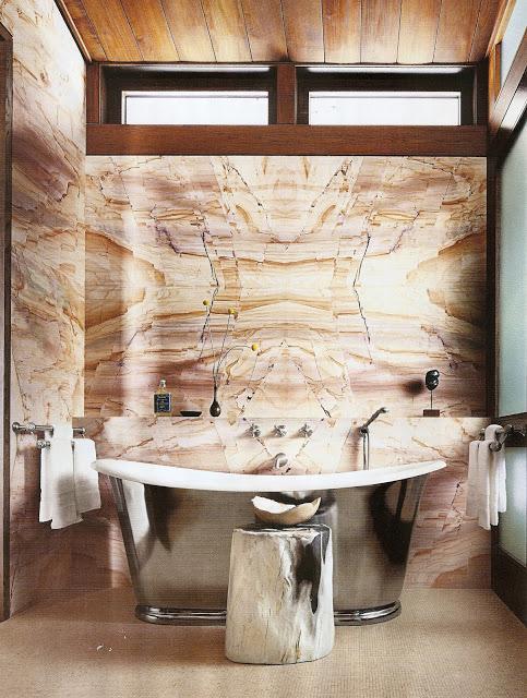 contemporary bathroom chrome tub interior design architectural digest marble