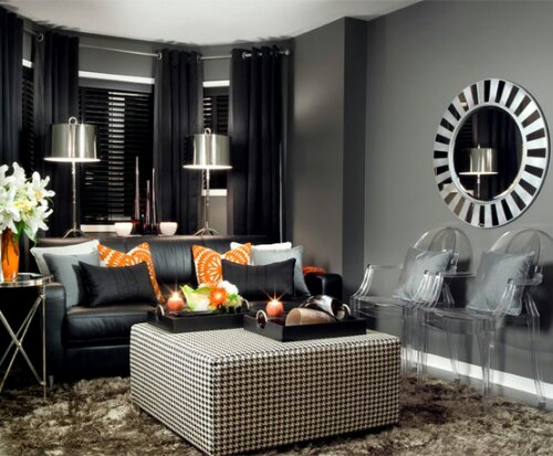 I think i will paint my bedroom charcoal gray in my new for Grey orange living room