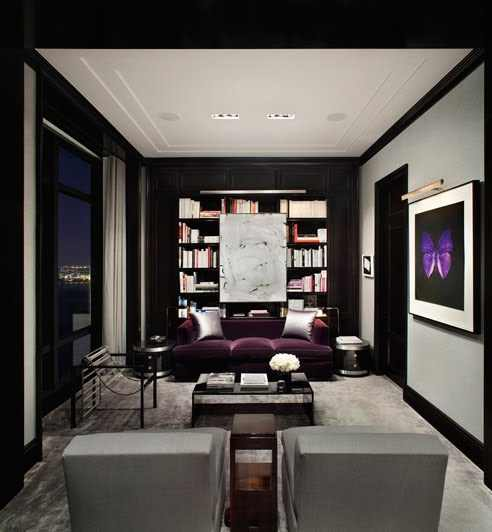 Purple design indulgences for Black and purple living room ideas