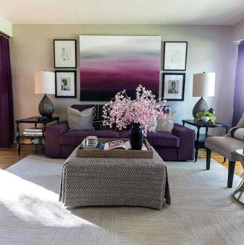 Plum design indulgences for Purple living room designs