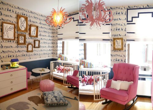 A Pink And Navy Bunny Rabbit Themed Girl S Room Design