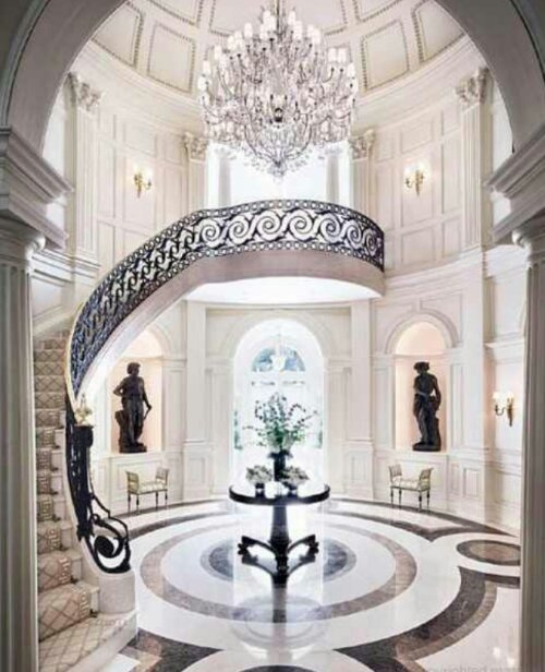 Beautiful Front Hall And Staircase: Marble And Tiled Floors In Living And Bedrooms…
