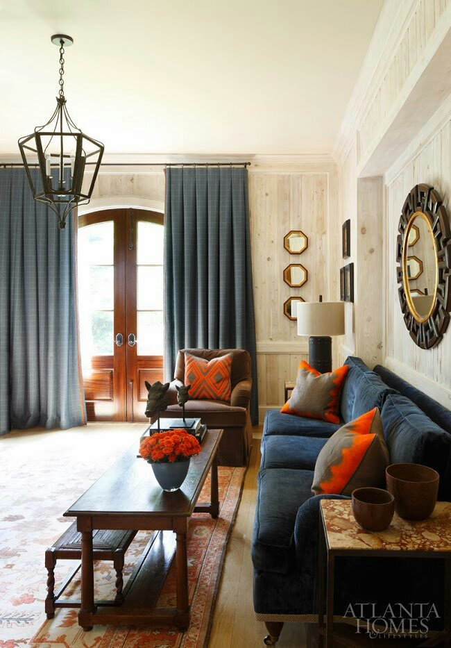 Blue And Orange Living Room Ideas: Reflections In Octagon Mirrors..