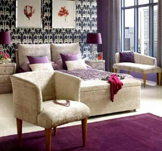 Purple Room: Chairs-purple-accents-in-bedroom.jpeg