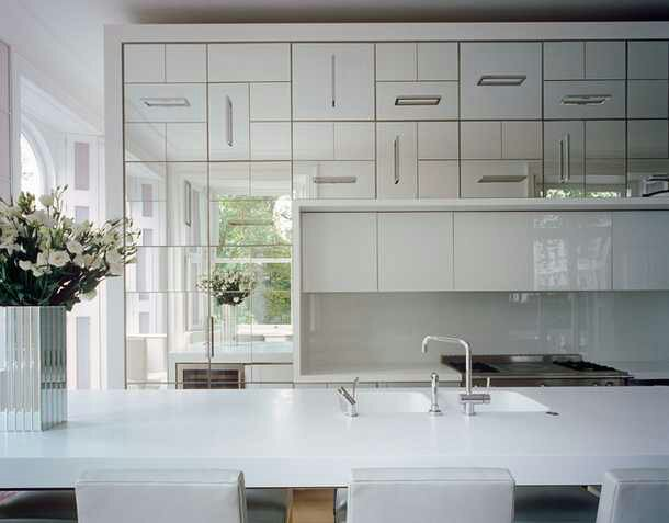 ImageMirror mirror on the wall    Design Indulgences. Mirrored Kitchen Cabinets. Home Design Ideas