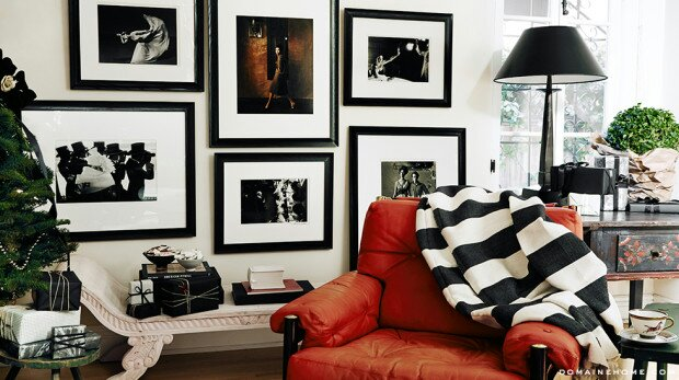 Frames painted gold with black and white photos image