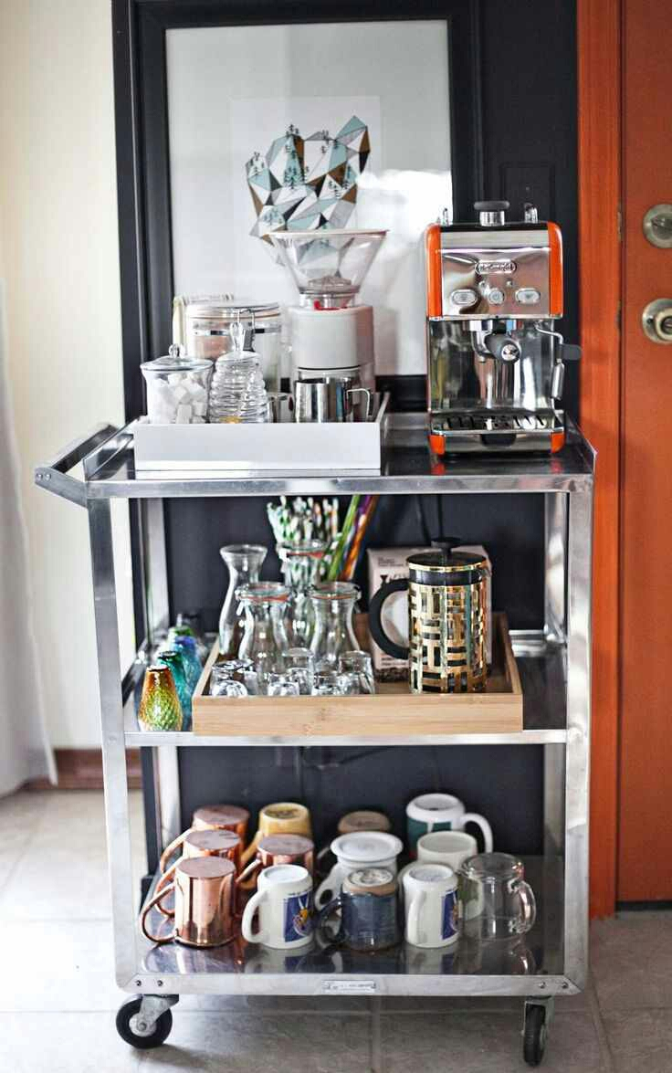 Tuesday s tips repurpose bar carts and make a coffee for Coffee cart design