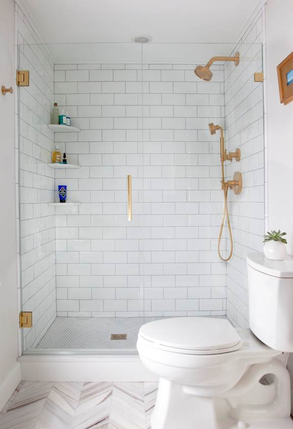 fab gold finishes from kohler in this bathroom reno