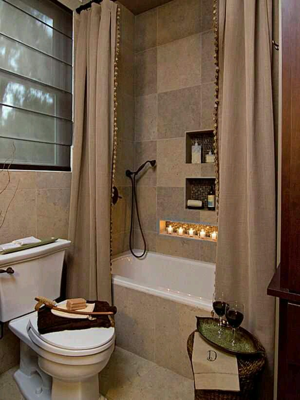 Tuesday s tips curtain panels for bathroom showers for Small bathroom high ceiling